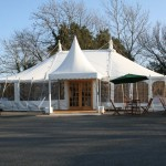 Pagoda leading to Traditional Canvas Marquee