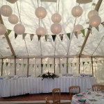 Unlined Traditional Canvas Marquee, Horseshoe Table & Paper Lantern Lighting