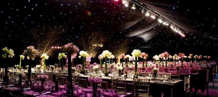 Marquee for hire set up with lights for night party