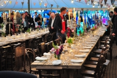Inside the marquee at the party in Hay on Wye