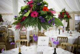 Fowers inside a party Marquee