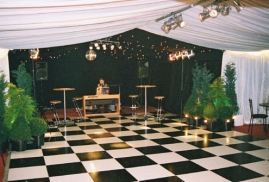 Clearspan Marquee with black and White Dancefloor