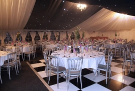 Marquee With Black And White Flooring Set Up For Event
