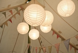 Paper-Laterns-And-Bunting-Inside-Marquee