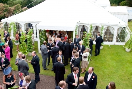 Guests arriving at Garden Wedding