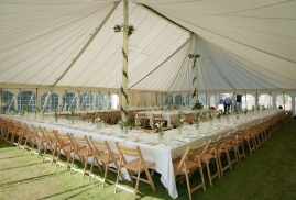 Wooden Fold Flat Chairs in Traditional Marquee