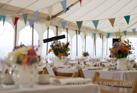 Flowers in unlined marquee