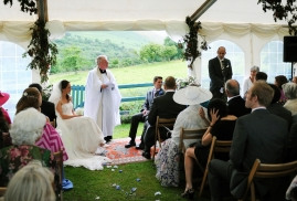 Ceremony inside Marquee