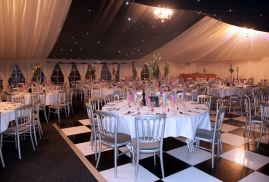 Black and White Dancefloor in Clearspan Marquee