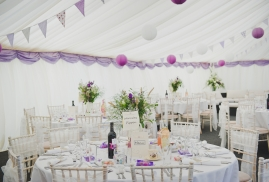 Lined Traditional Marquee with paper lanterns