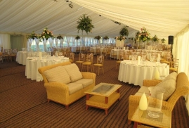 Sofas Set Up Inside Marquee For Party