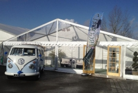 VW Outside Entrance To Burgoynes Marquees Wedding Fayre