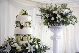 Wedding-Cake-Set-Up-At-Marquee-Wedding-Reception