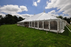 Traditional marquee erected on grass