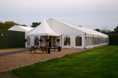 Framed clearspan marquee on stones