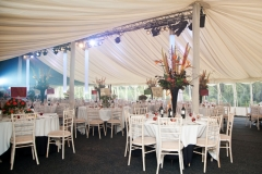 Marquee decorated and ready for event