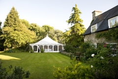 Marquee setup and waiting for wedding guests