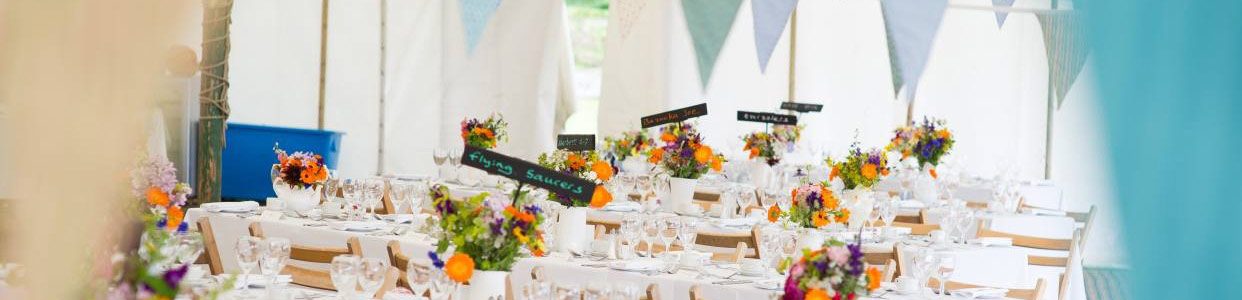 Traditional Wedding Marquee, Banqueting tables and wooden folding chairs