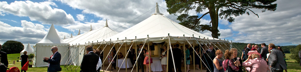 Traditional Wedding Marquee, Reception area leading into main dining marquee
