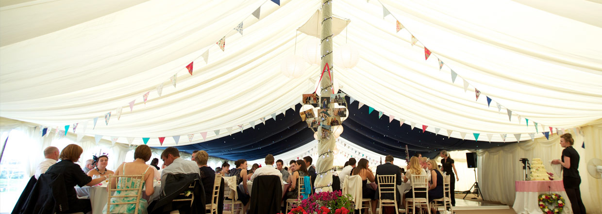 Lined Traditional Marquee With Bunting