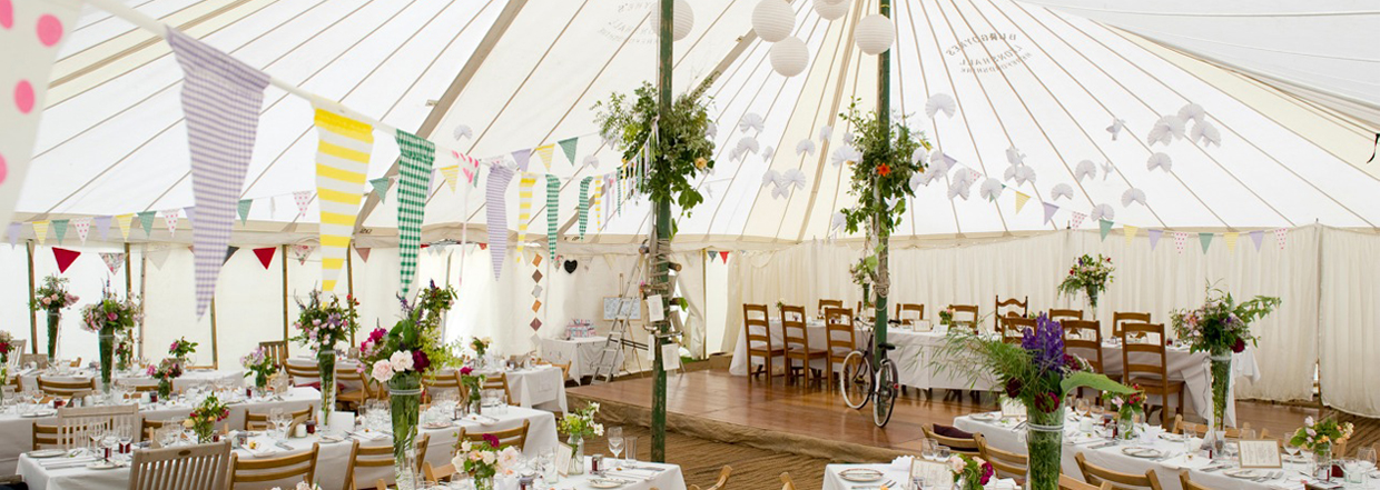 Unlined traditional marquee with stylish bicycle