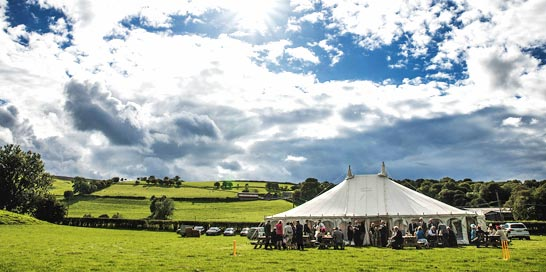 Beautiful wedding marquee in countryside setting