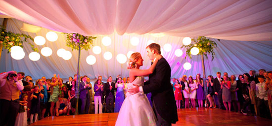 First dance in lined traditional marquee