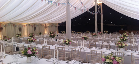 Lined marquee with starlights