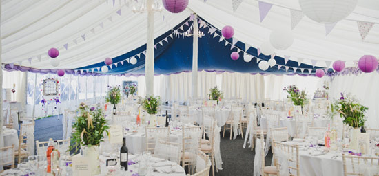 Purple lanterns in lined traditional