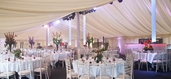 Internal marquee lighting in lined marquee