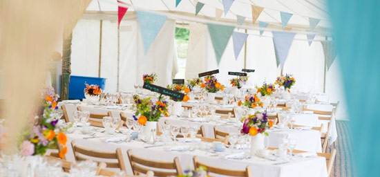Bunting in unlined marquee