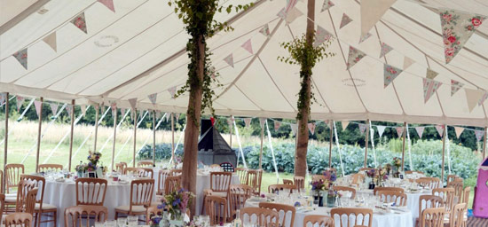 Foliage inside traditional unlined marquee