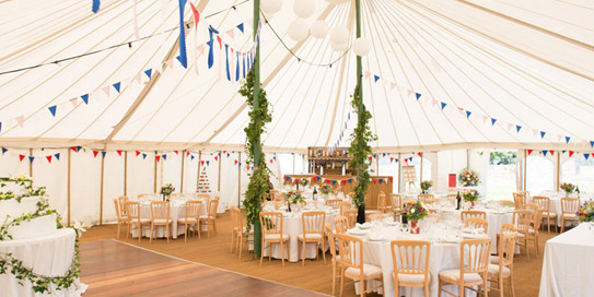 Marquee Interior Shot With Stylish Bunting