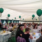 Guest enjoying event in the marquee at Weir Nursing Home Herefordshire