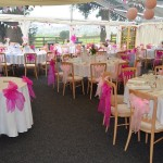 Marquee looking pretty in pink ready for wedding in Kington Herefordshire