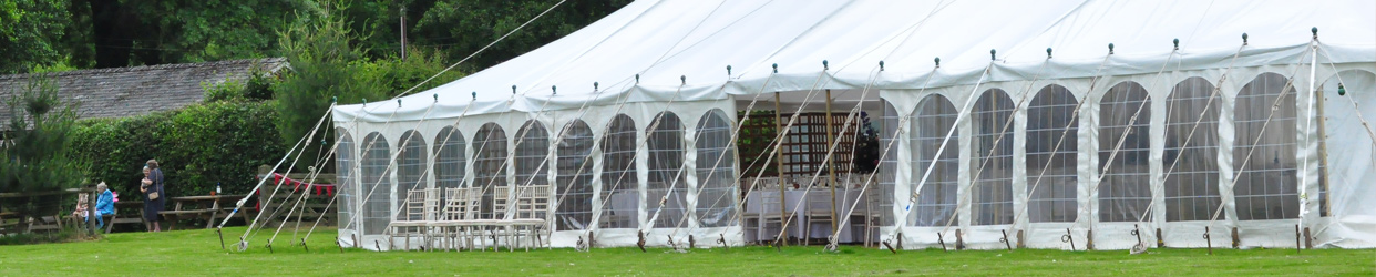 Traditional Marquee with rope supports looking stunning