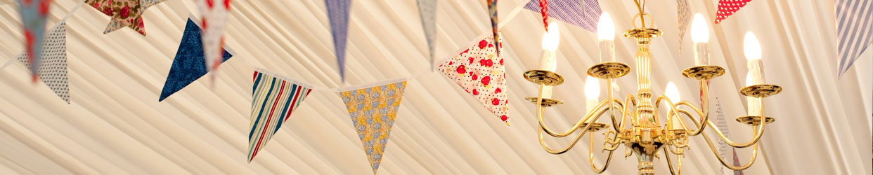 Gorgeous chandelier and bunting