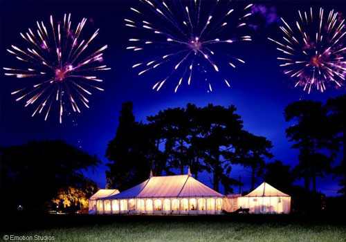Party marquee with impressive fireworks