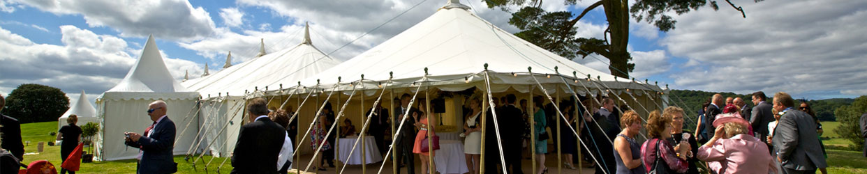 Party in a marquee with guests